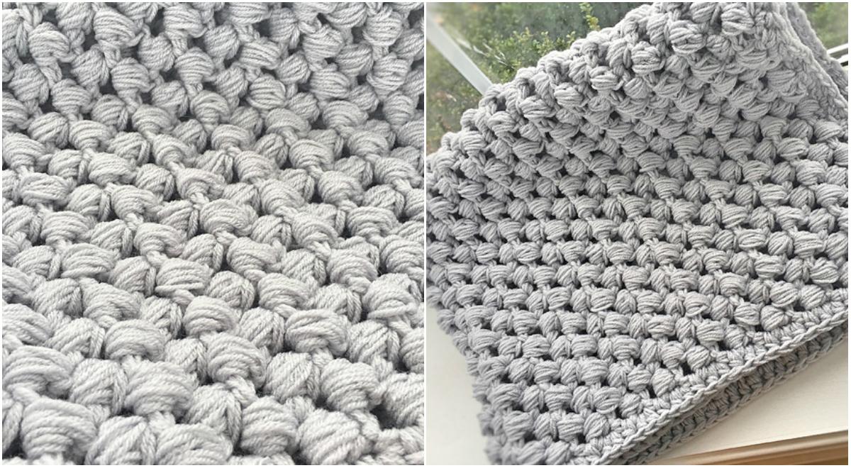 Giant Puff Stitch Baby Blanket Free Pattern
