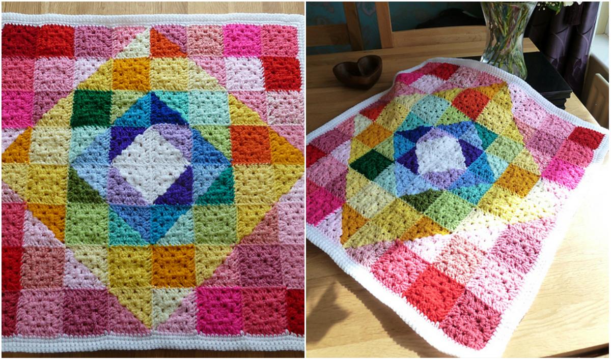 Geometric Rainbow Granny Square Blanket Pattern Gallery