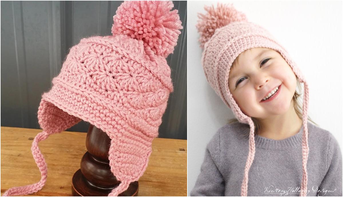 Crochet La Vie En Rose Earflap Baby Hat Pattern