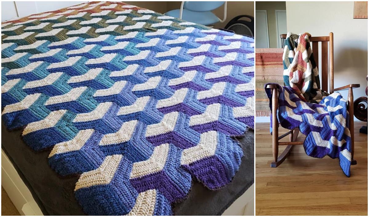 Easy Crochet Tumbling Blocks Free Bedspread Pattern