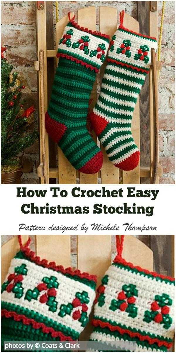 Crochet Christmas Stocking.How To Crochet Easy Christmas Stocking Video Tutorial