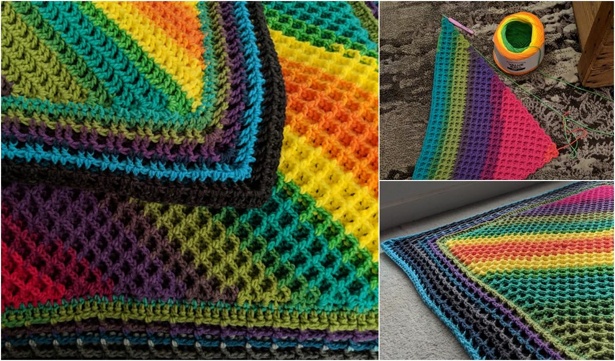 Corner To Corner Waffle Stitch Blanket