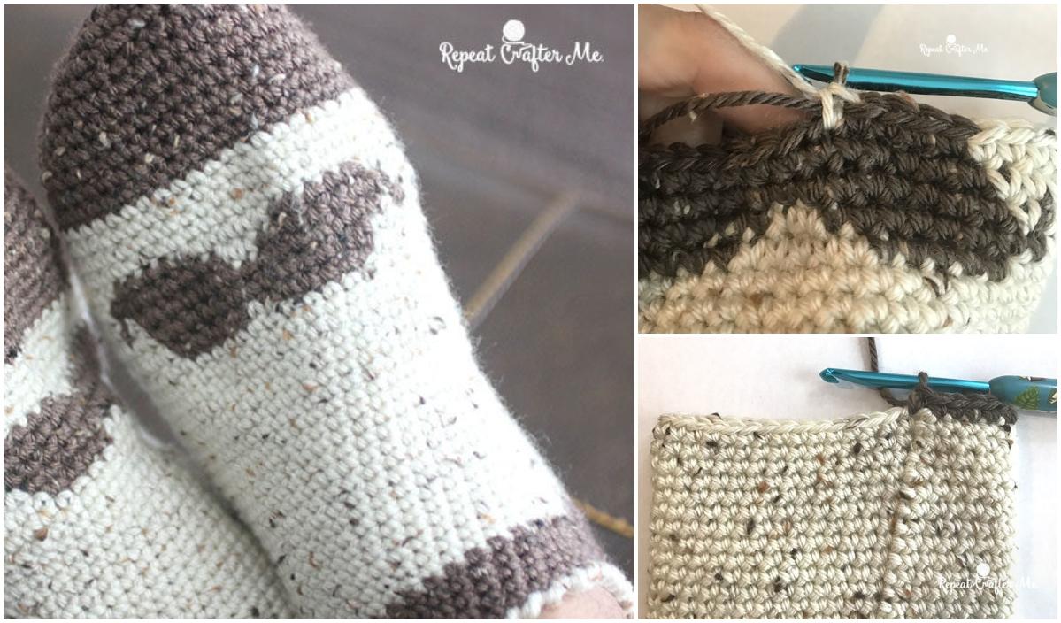 Crochet Mustache Slipper Socks for Men Pattern 0b22e7a0f3c7